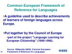 common european framework of reference for languages1
