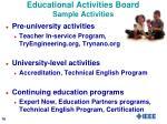 educational activities board sample activities