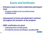 exams and certificates
