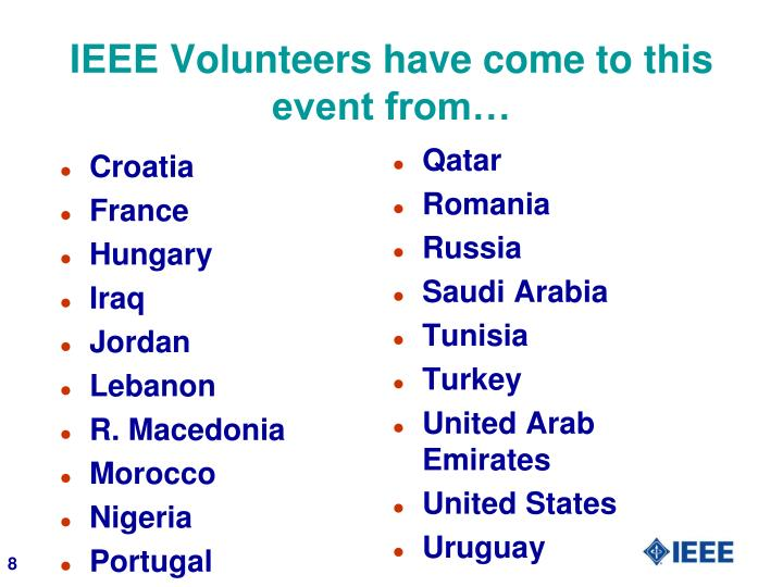 IEEE Volunteers have come to this event from…
