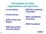 participation of other organizations and sponsors