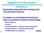 suggestions for class content accompanied by appropriate homework and oral presentations