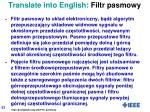 translate into english filtr pasmowy