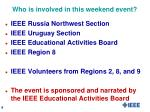 who is involved in this weekend event1