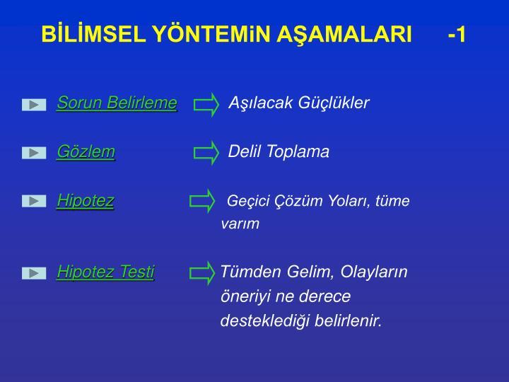 BİLİMSEL YÖNTEMiN AŞAMALARI-1