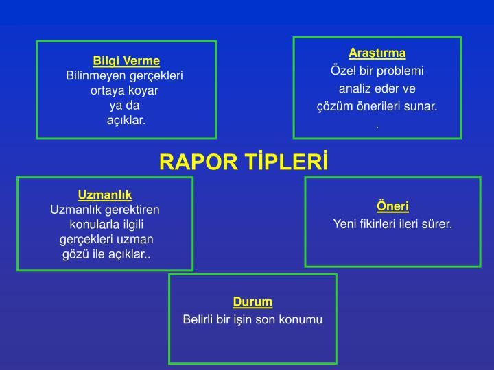 RAPOR TİPLERİ