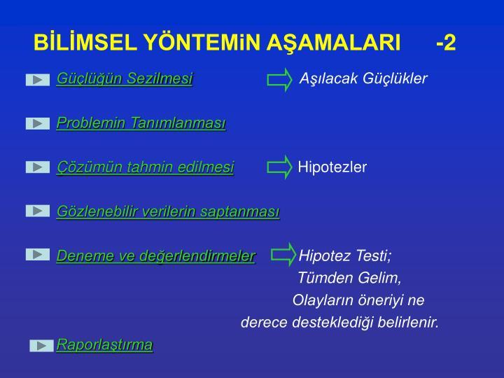 BİLİMSEL YÖNTEMiN AŞAMALARI-2