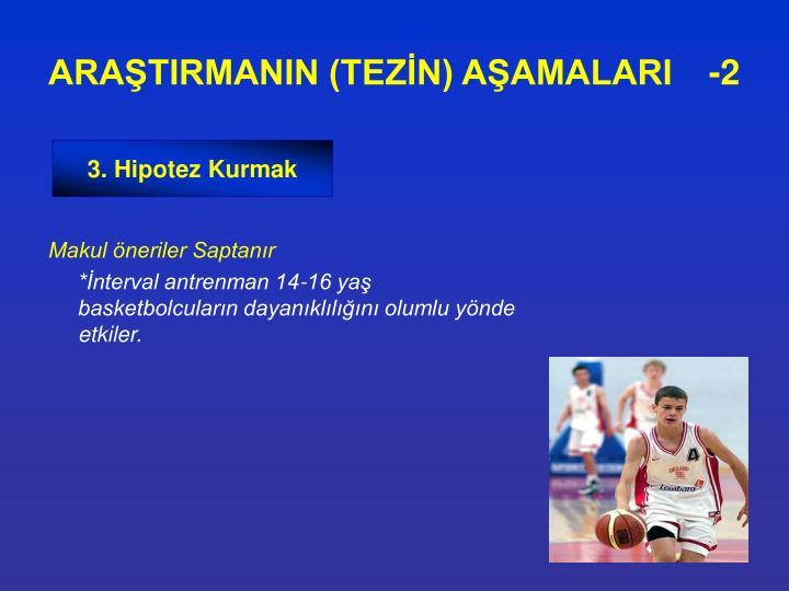 ARAŞTIRMANIN (TEZİN) AŞAMALARI   -2