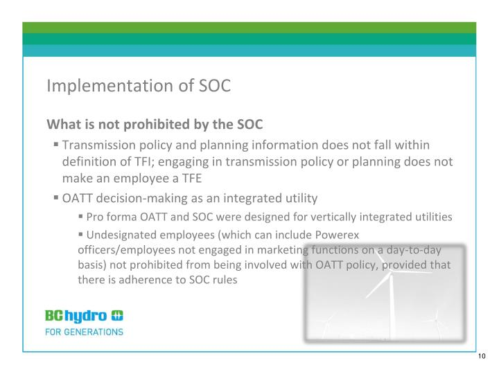 Implementation of SOC