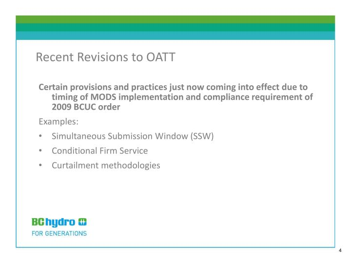 Recent Revisions to OATT