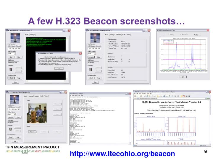 A few H.323 Beacon screenshots…