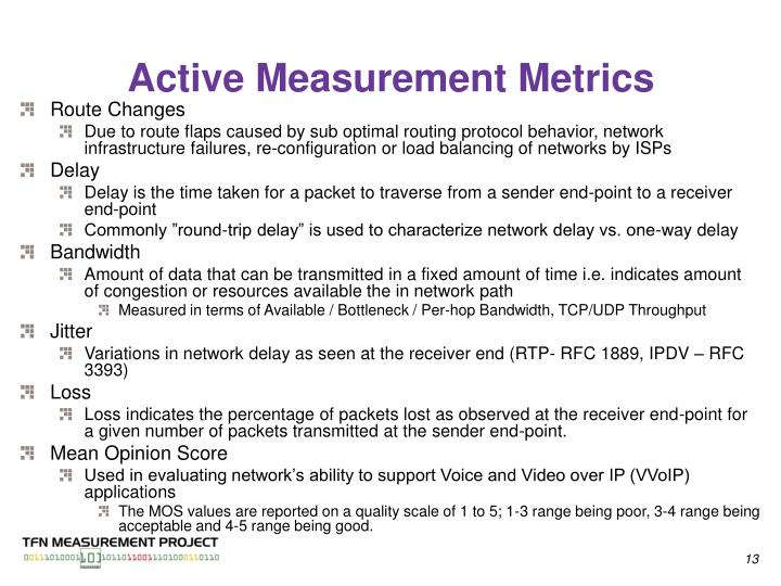 Active Measurement Metrics