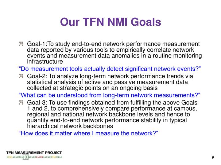 Our TFN NMI Goals