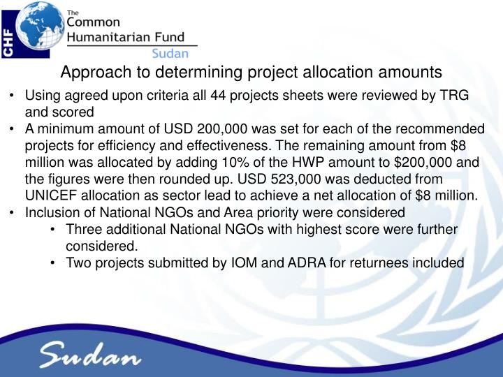 Approach to determining project allocation amounts