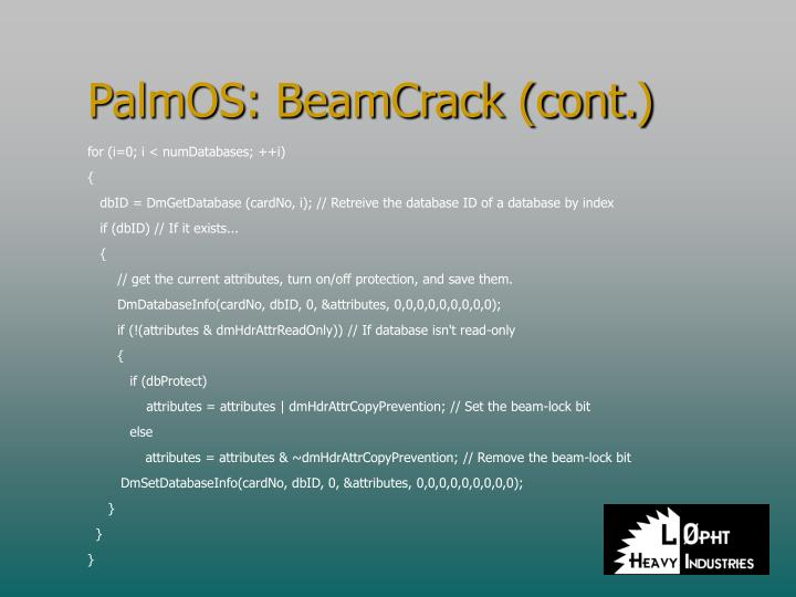PalmOS: BeamCrack (cont.)