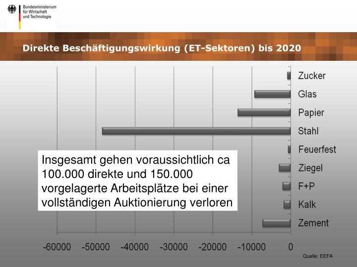 Direkte Beschäftigungswirkung (ET-Sektoren) bis 2020