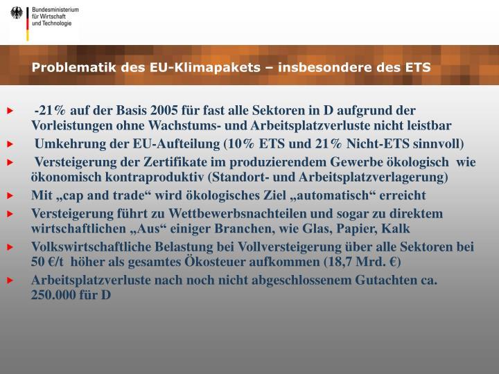 Problematik des EU-Klimapakets – insbesondere des ETS
