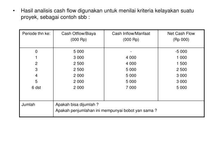 Hasil analisis cash flow digunakan untuk menilai kriteria kelayakan suatu proyek, sebagai contoh sbb :