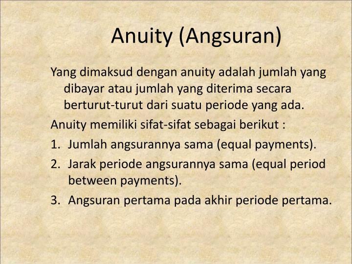Anuity (Angsuran)