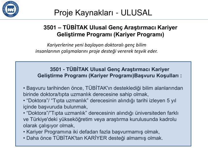 Proje Kaynakları - ULUSAL