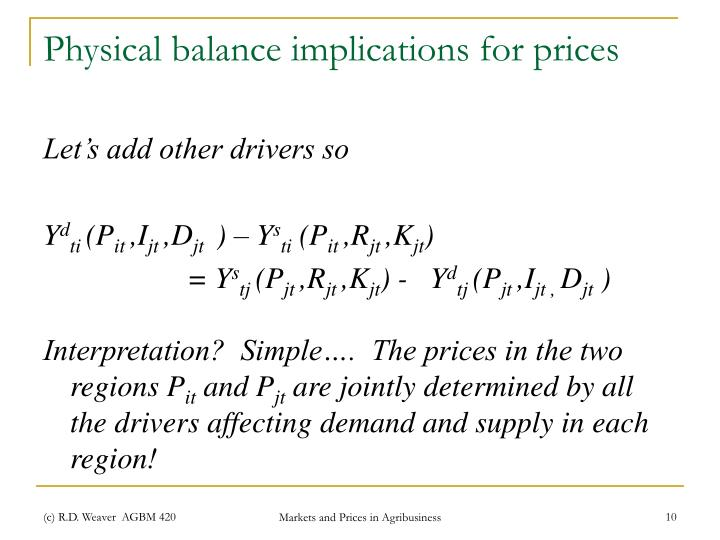 Physical balance implications for prices