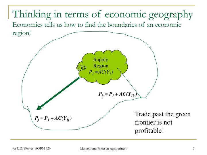 Thinking in terms of economic geography