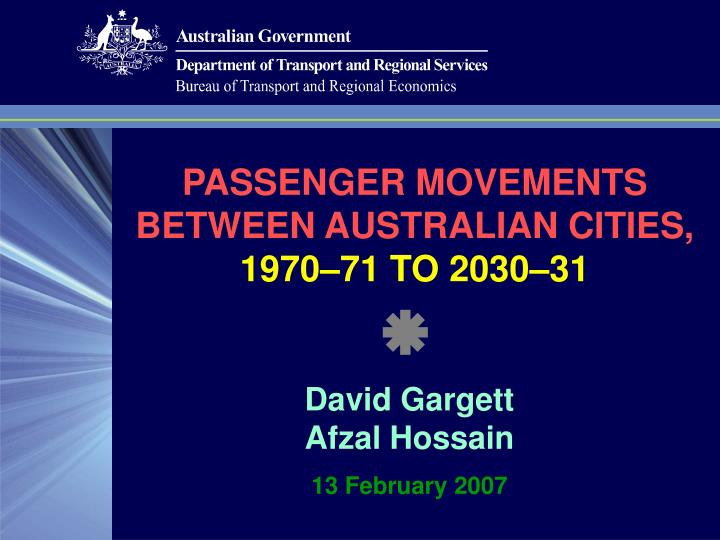 Passenger movements between australian cities 1970 71 to 2030 31