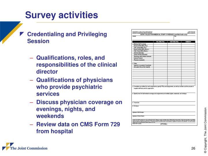 Survey activities