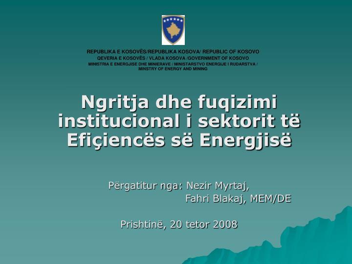 Ngritja dhe fuqizimi institucional i sektorit të Efiçiencës së Energjisë