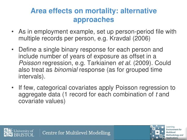 Area effects on mortality: alternative approaches