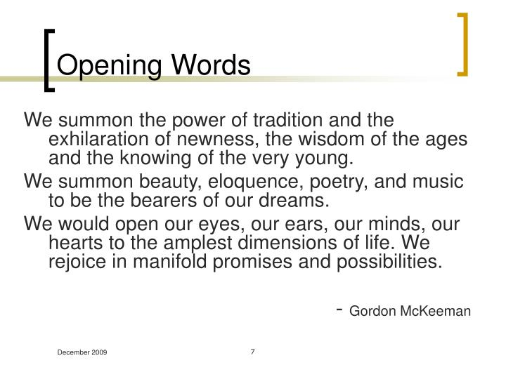 Opening Words