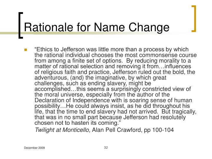 Rationale for Name Change