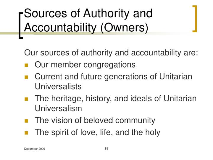 Sources of Authority and Accountability (Owners)