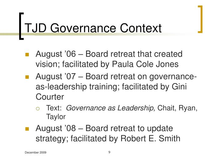 TJD Governance Context