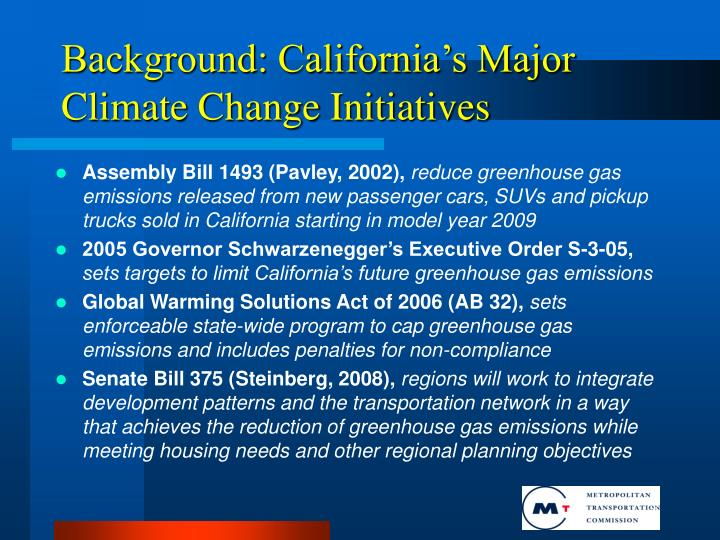Background: California's Major Climate Change Initiatives