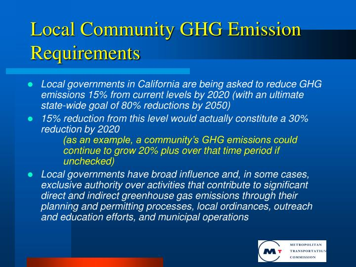 Local Community GHG Emission Requirements