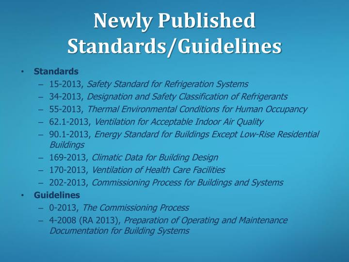 Newly Published Standards/Guidelines
