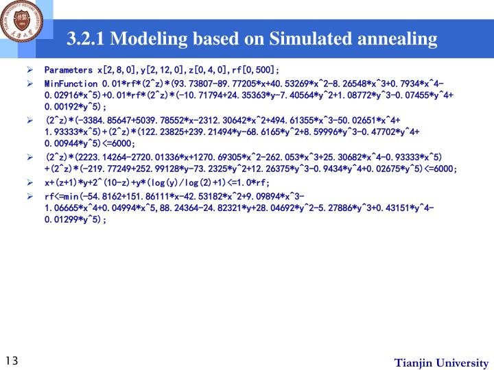 3.2.1 Modeling based on Simulated annealing