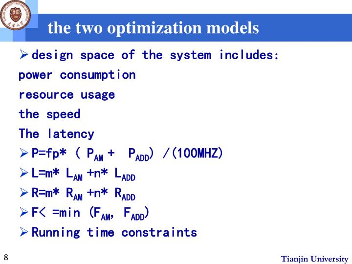 the two optimization models