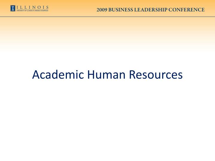 Academic Human Resources