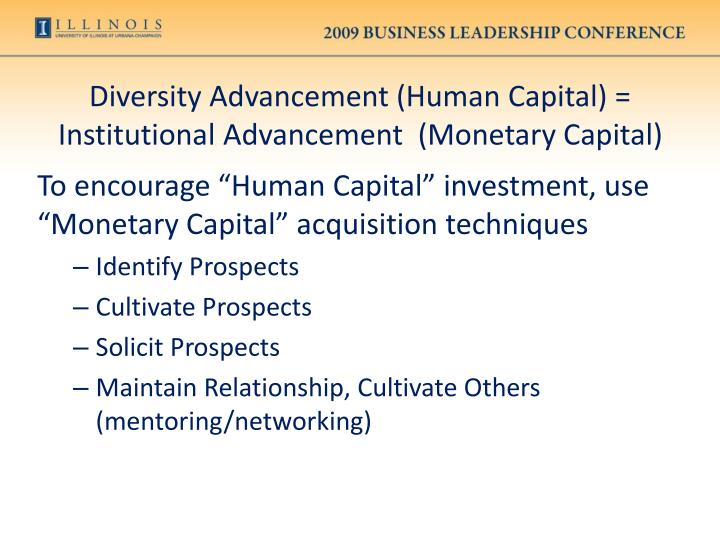 Diversity Advancement (Human Capital) = Institutional Advancement  (Monetary Capital)
