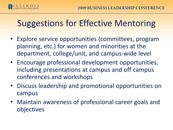 Suggestions for Effective Mentoring