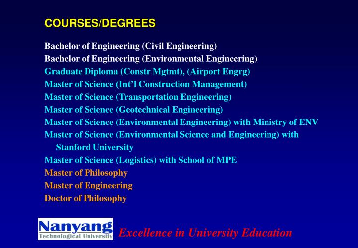 COURSES/DEGREES