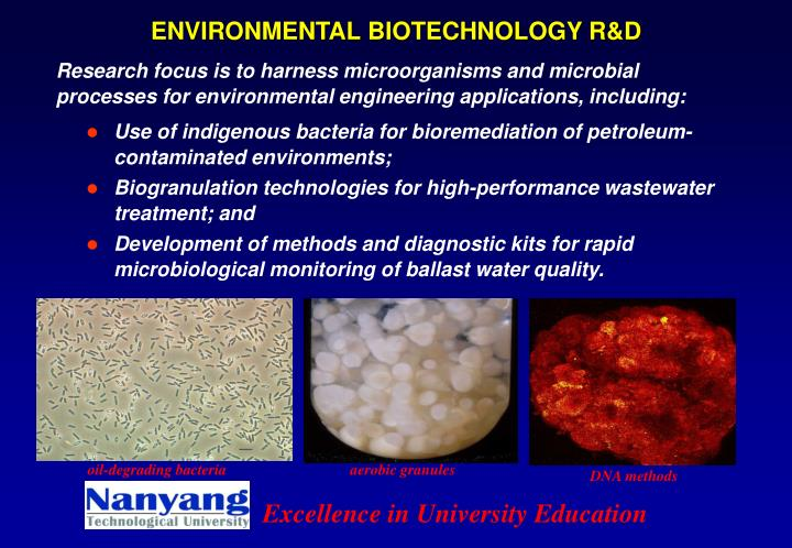 ENVIRONMENTAL BIOTECHNOLOGY R&D