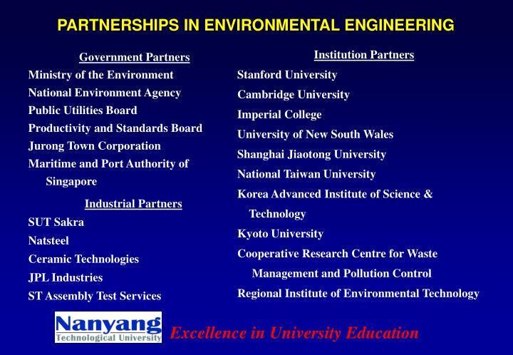 PARTNERSHIPS IN ENVIRONMENTAL ENGINEERING