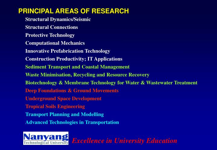 PRINCIPAL AREAS OF RESEARCH