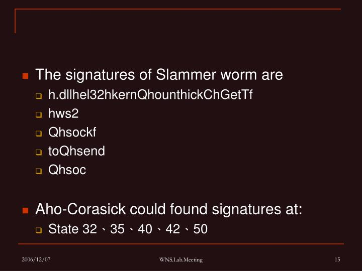 The signatures of