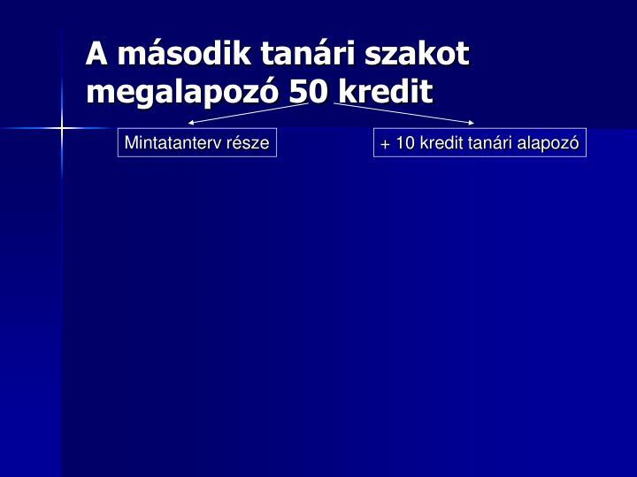 A második tanári szakot megalapozó 50 kredit