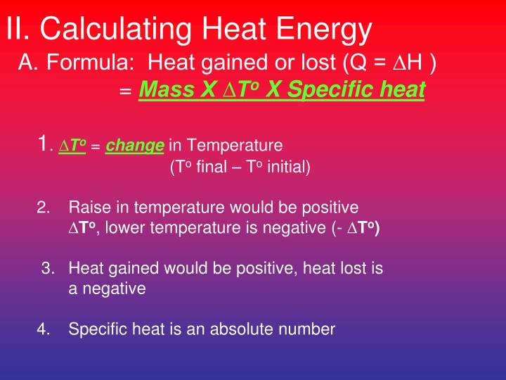 II. Calculating Heat Energy