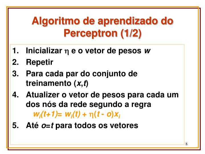 Algoritmo de aprendizado do Perceptron (1/2)